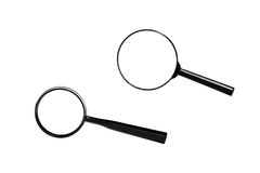 Two magnifiers isolated. Two magnifiers on white background Stock Photo