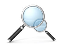 Two magnifying glasses on white background Stock Photography