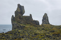 Two major basalt formations at Londrangar Royalty Free Stock Images