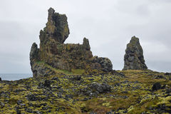 Two major basalt formations at Londrangar Royalty Free Stock Photo