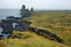 Two major basalt formations at Londrangar Royalty Free Stock Photography