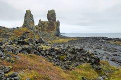 Two major basalt formations at Londrangar Stock Photo