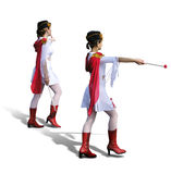 Two Majorettes with white dresses, red boots and scarfs. Two Young Majorettes - cheerleaders - with beautiful white dresses, red boots and scarfs. Isolated stock photography