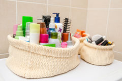 Two make up bag with cosmetics and brushes Royalty Free Stock Images