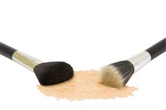 Two make-up brushes with powder isolated Royalty Free Stock Images