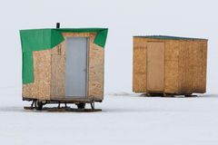 Two makeshift ice fishing cabins in Idaho Stock Image