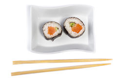 Two Maki Sushi from above Royalty Free Stock Image