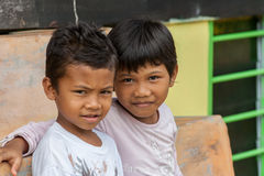 Two malasian boy looking at the camera Stock Image