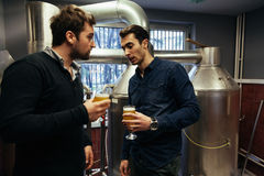 Two Male In Brewery. Two Handsome Male Tasting Beer In Brewery Stock Photo