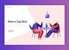Two Male Businessman Colleague Chatting during Cup of Coffee or Tea Break at Cafe Table Landing Page. Man Friend Dialog. Guy Meeting Website Template. Flat vector illustration