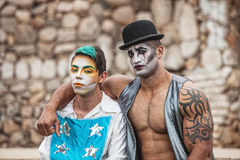 Two Male Cirque Performers Royalty Free Stock Photos
