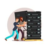 Computer engineers specialists vector illustration