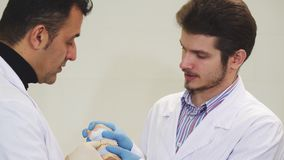 Two male dentists discussing jaw mold at the dental clinic. Two professional male dentists working at the clinic together examining dental mold of a patient stock video