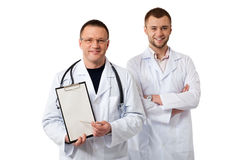 Two male doctors stock photography