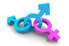 Two Male with Female gender symbol Royalty Free Stock Photography