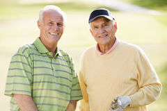 Two Male Friends Enjoying Game Of Golf Stock Image