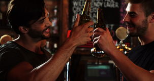 Two male friends interacting with each other while toasting a beer bottles. In bar stock footage