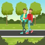 Two male friends talking and smiling while walking in the park, friendship concept vector Illustration Royalty Free Stock Images
