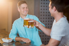 Two male friends toasting beer mugs at bar counter Royalty Free Stock Photos