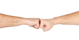 Two male hands as fists together isolated Stock Photography