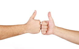 Two male hands with fingers up isolated Stock Photo