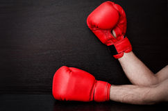 Two male hands in red boxing gloves on a black background, space for text Stock Photos