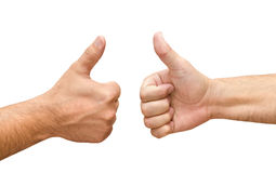 Two male hands with thumbs up ok. Isolated on white Royalty Free Stock Photography