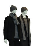 Two male mannequins. 2 male mannequins with winter clothes isolated on white Royalty Free Stock Photos