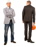 Two Male Middle Age Engineers on White Background Stock Photo