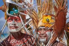 Two male participants at the Ati-atihan Festival on Boracay Island stock photography