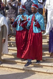 Two male pilgrims in ritual clothes Royalty Free Stock Photo
