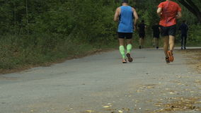 Two male runners run in autumn city Park stock video footage