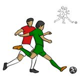 Two male soccer players fighting for a ball vector illustration Stock Images