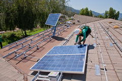 Two male solar workers Royalty Free Stock Photography