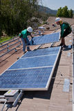 Two male solar workers Royalty Free Stock Photos