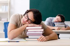 The two male students in the classroom royalty free stock photography