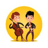 Two male teenagers playing classic instrumental music. Icon isolated on white. Vector illustration Stock Photo