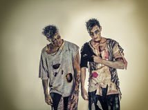Two male zombies standing on black smoky background Stock Photos