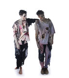 Two male zombies standing on white background, whole body Royalty Free Stock Photos