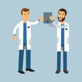 Two males doctor characters in uniform examining xray and discussing, medical care  Illustration Stock Image