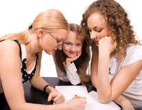 Two Mams Teach Little Girl Isolated Royalty Free Stock Photography