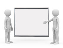 Two man with board, 3d rendering. Two man with board on white background, 3d rendering vector illustration