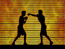 Two man boxing on a fire background. Silhouettes of two young white men boxing in the ring on hot fire background Royalty Free Stock Image