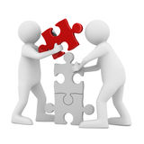 Two man build puzzle on white. 3D image Royalty Free Stock Photo