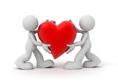 Two man carrying heart concept illustration Stock Images