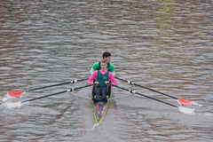 Two Man Crew Rowing Hard Royalty Free Stock Photos