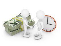 Two man, dollars and clock Stock Images