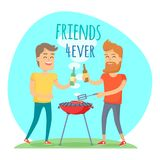 Two Man Fried Meat on Barbecue Friends Forever. Two man with drink fried meat on barbecue in summer sunny day. Friends forever has funny free time in cartoon vector illustration