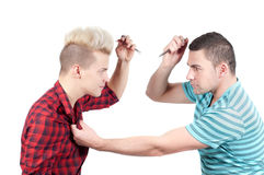 Two man fighting Stock Photos