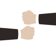 two man fists stacked together, teamwork Stock Photography